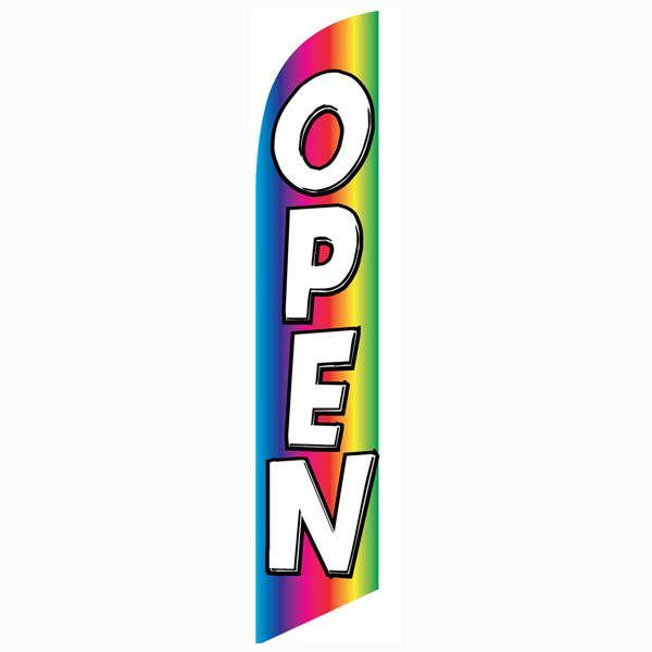 Open Rainbow Feather Flag